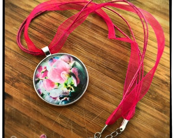 Sweet Pea Photo Pendant on Ribbon
