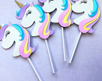Unicorn Cup Cake toppers/Unicorn Birthday Decorations, Unicorn cake topper