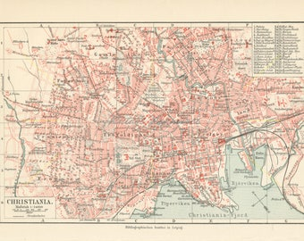 Oslo city print etsy antique oslo city map oslo map print norway map norway wall art sciox Gallery