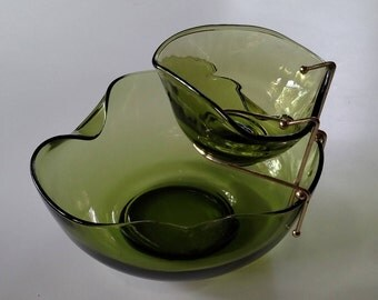 "Vintage Avocado 9"" Chip & Dip Set with Metal Holder in Accent Modern Forest Green by Anchor Hocking, Green Glass Salad Set, Made in USA"