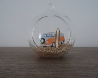 Suspension / ball decoration combi van orange glass and surfboard to hang or lay