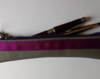 Small grey leather pencil case with ribbon detail