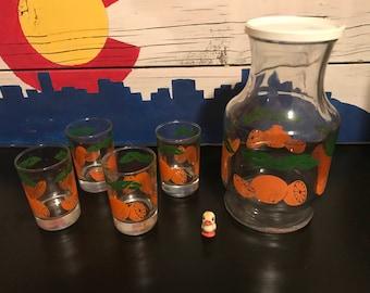 Vintage Orange Juice Carafe with Glasses