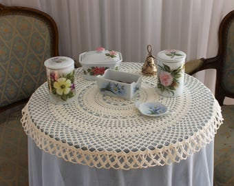 Handmade crochet tablecloth White round centerpiece to protect tea table or dinnig table Valentine's gift for her or Gift for mother