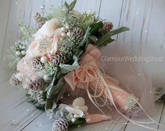 Winter Wedding Bouquet Alternative Bridal Bouquet Blush Pink Wedding Bouquet with Boutonniere Brooch Bouquet
