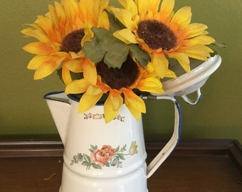 Enamelware Coffee Pot Planter/Vase