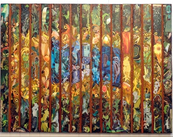 """Contemporary Art / Artist Collection / Large Painting / Mixed Media on Reclaimed Wood / Home Decor / Wall Art / 61.4"""" x 46"""" - Brazil"""