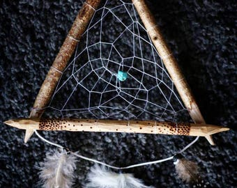 Triangle dream catcher wood and turquoise