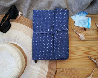 Blue travel journal with pockets; holiday journal; travel notebook