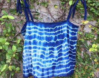 Indigo Dyed Natural camisole  handmade