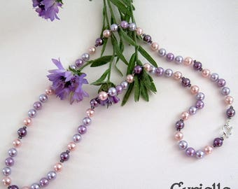 Necklace beads knotted Cyrielle