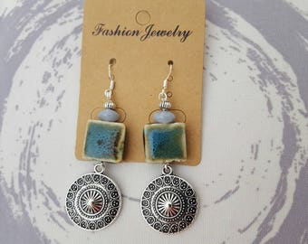 hook and bead earrings in silver and Blue ceramic