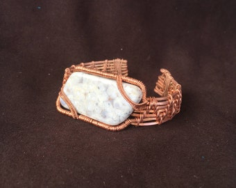 Copper bracelet, grey stone