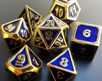 Dungeons and Dragons Dice Set: Blue and Gold dnd gift idea metal dice set of dice d20 RPG Role Playing Games polyhedral dice