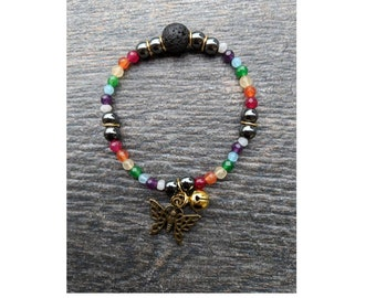 Lava Stone Hematite Moonstone Beaded Butterfly Bell Bracelet