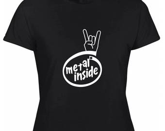 Metal inside women T-shirt black white marking
