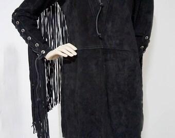 LEATHER dress VINTAGE with fringes