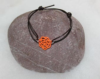 Brown rope chain bracelet with flower filigranee connector