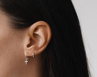 Cross Hoop Earrings, Hoop Earrings Gold, Hoop Earrings, Dainty Earrings, Tiny Hoop Earrings, Minimalist