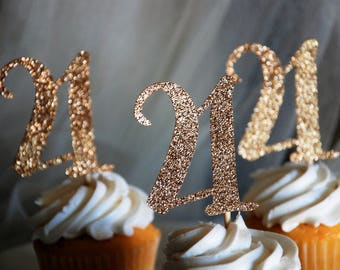 21st birthday glitter cupcake toppers