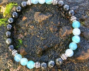 Tiffany Blue and Black Agate Bracelet