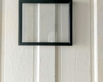 antique vintage double sided black horizontal picture frame floating frame wall frame map frame pressed glass - Double Glass Frame