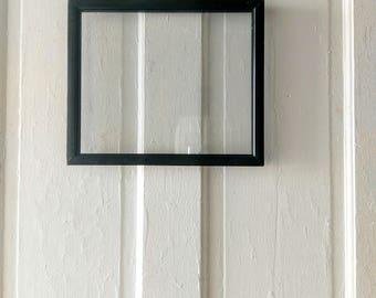 antique vintage double sided black horizontal picture frame floating frame wall frame map frame pressed glass - Double Sided Glass Frame