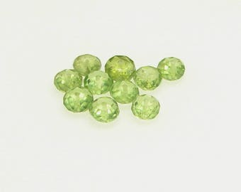 Set of 10 peridot quality 4.00 mm diameter faceted button. (9791062)