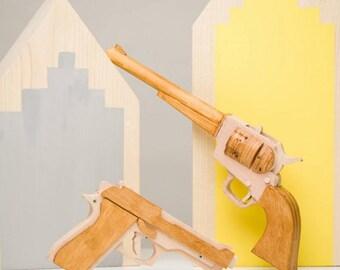 Wooden pistol, wooden gun, toy gun