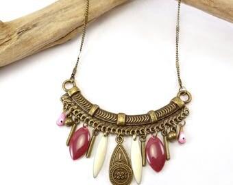 """Necklace """"Lampang"""" Rose & white"""