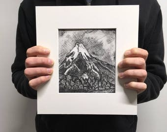 Mountain Dry Point Print One off Black and White