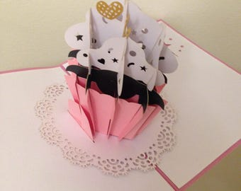 Handmade 3D pop up card pink cup cake birthday mother's day father's day wedding anniversary engagement party baby shower birth Easter her