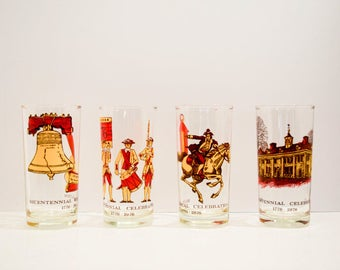Bicentennial Celebration 1776-1976 Drinking Glass Set of four~ Collectable~Liberty~MCM~12oz~Patriotic~