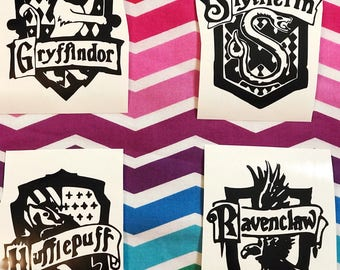 Set of all 4, Hogwarts house crests, Vinyl decals, stickers, Gryffindor, Slytherin, Hufflepuff, Ravenclaw, Harry Potter, car, tumbler, etc