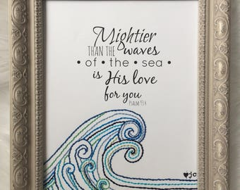 Psalm 93:4 Mightier than the Waves is His Love Hand Stitched Art 8x10 Original Handstitched Ocean Sea Nautical Whimsical Whimsy