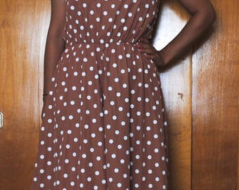 1980s Vintage Tan and White Polka Dot Maxi Dress, 60s, 80s, my michelle, vintage dress