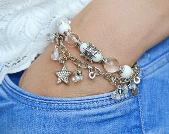 Bracelet rhinestone and agate, for mom, for holiday, stylish bracelet, charm bracelet, Boho style, for girl, natural stones, jewelry stones
