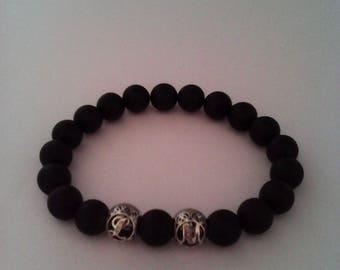 Bracelet Homme Onyx noir mat, Argent925 Alphabet Lettres, bracelet personnalisable en choisissant les initiales