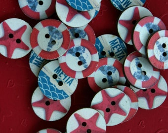 Sea  Ocean Nautical Buttons - Octopus -  Round Button - Scrapbooking - Sewing - Card making - Craft supplies