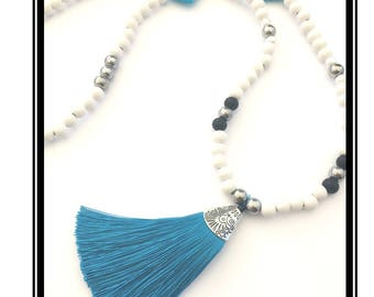 Blue tassel necklace & natural wooden beads white and Turquoise, multicolored / Bohemian / boho / necklace
