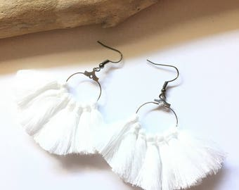 Earrings tassel earrings, white & silver tassel pom pom pom pom crochet black earrings