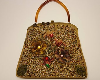 Vintage Souré Bag New York Needle Point Beaded HandBag 1950's