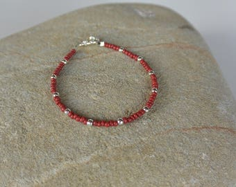 Red and Silver Bracelet with Vintage Beads