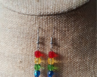 Rainbow Glass Beaded Earrings