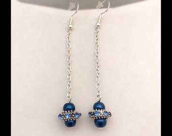 Earrings pearls rhinestones