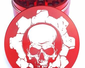 """Skull #18 Engraved Herb Grinder - 2.2"""" Herb Grinder -Laser Engraved Skull Herb Grinder - 4pc Herb Grinder - 4PC Grinder - Life Time Warranty"""