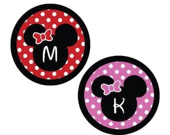 Personalized Minnie Mouse Inspired Polka Dot Monogram Button - Disney Park Button - Theme Park Button - Minnie Mouse ID Tag - Disney Button