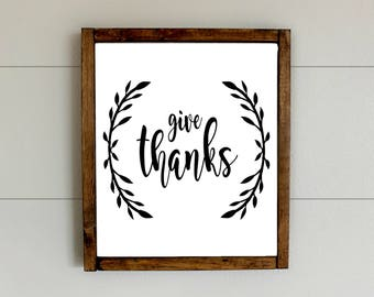 Give Thanks Sign, Give Thanks, Fall Decor, custom framed signs, Framed fall Signs, Framed Wood Sign, Farmhouse Decor, Wood Sign, Custom Sign