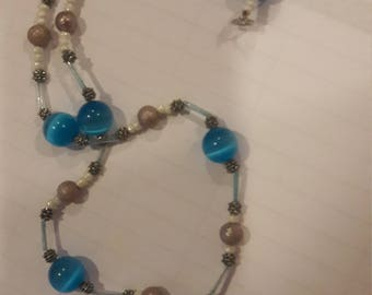 Blue turquoise cross necklace