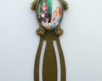 "Bronze paperclip bookmark ""the Hatter and Alice in Wonderland"" """